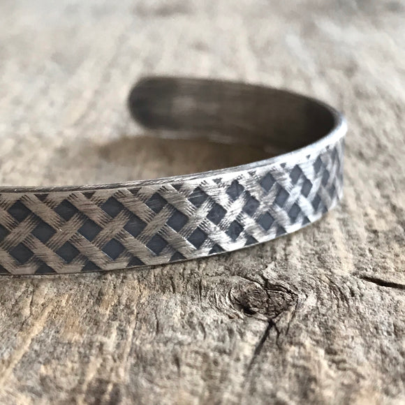 Men's Plaid Open Cuff Bangle
