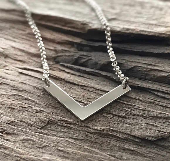 Sterling Silver Chevron Necklace
