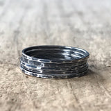 Set of 5 Antique Silver Stackable Skinny Rings
