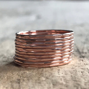 Set of 10 Rose Gold Stacking Rings