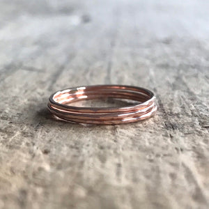 Set of 3 Rose Gold Stacking Rings