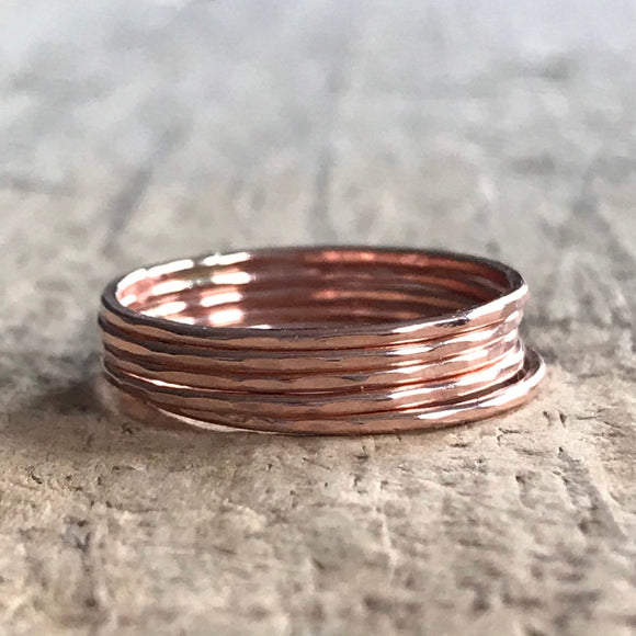 Set of 5 Rose Gold Stacking Rings