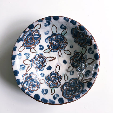 Blue And White Round Ceramic Dish 3