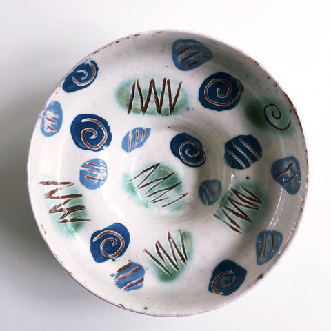 Blue And White Dish with a dash of Green -2