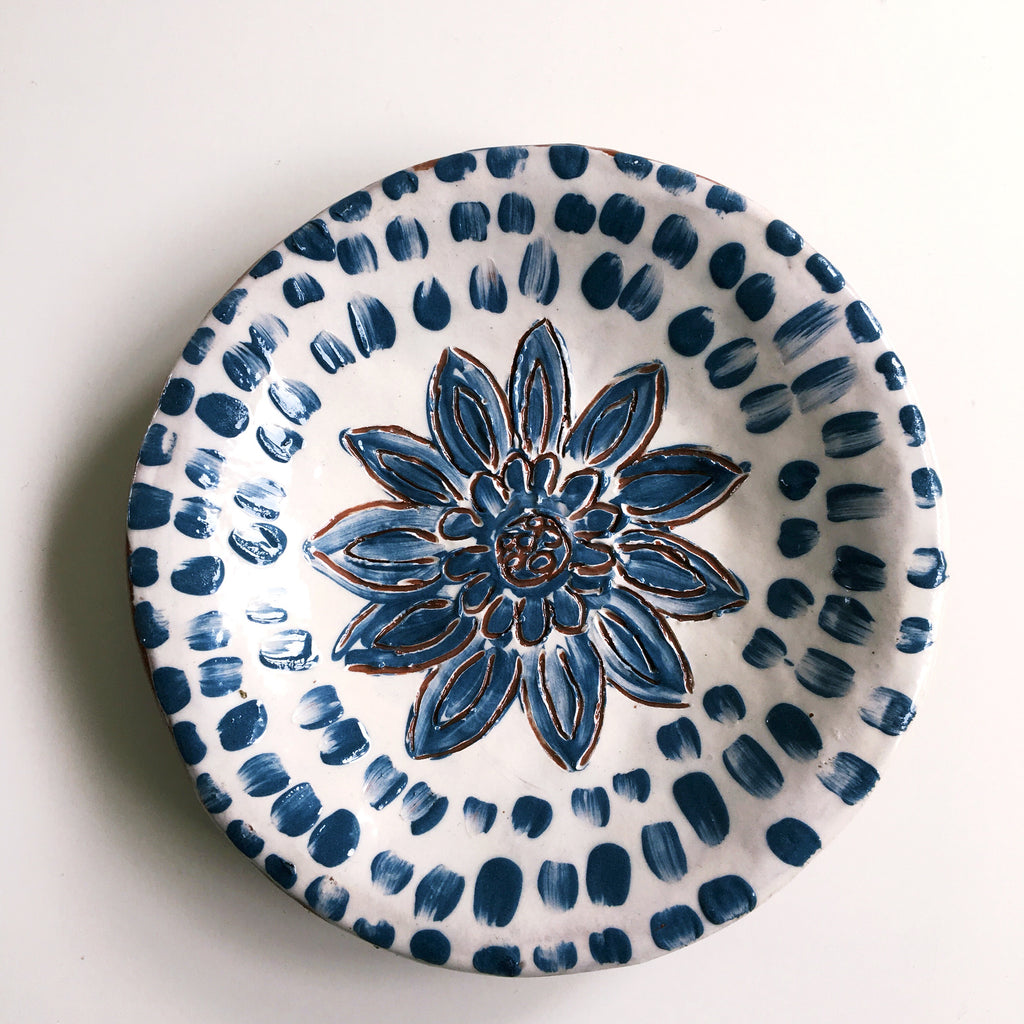Blue And White Round Ceramic Dish 4