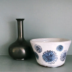 Blue And White Round Ceramic Dish 5