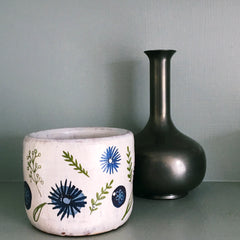 Blue And White ( with a little green ) Plant Pot - 1