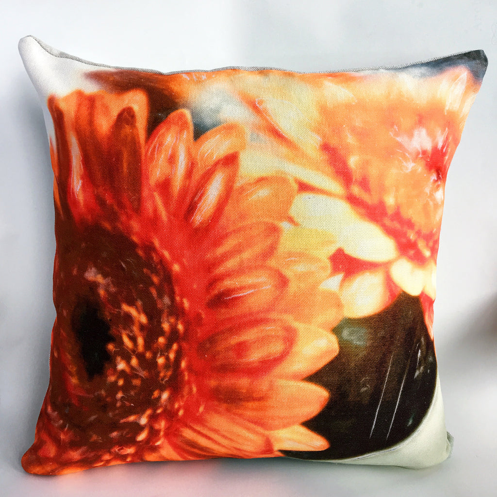 Orange Gerbera Cushion