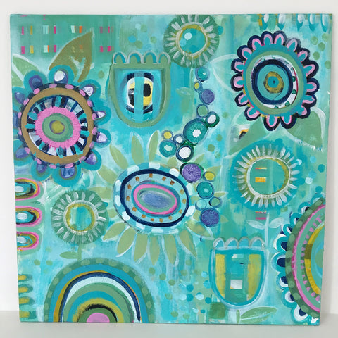 Garden Blues 2 - 16  x 16 inches