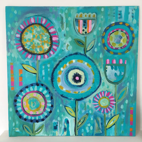 Garden Blues 1 - 16 x 16 inches
