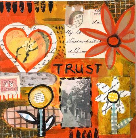 Trust - Mixed Media Collage - 8 x 8 Inches