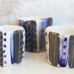Plant Pot - Blue / Grey /White