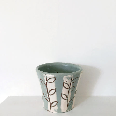 Plant Pot -  Stripey Leaves
