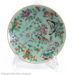 chinese canton famille rose celadon plate