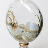 Rare Antique Victorian Hand Painted Glass Polar Exploration & Sailing Ship Vase (Code 0249)