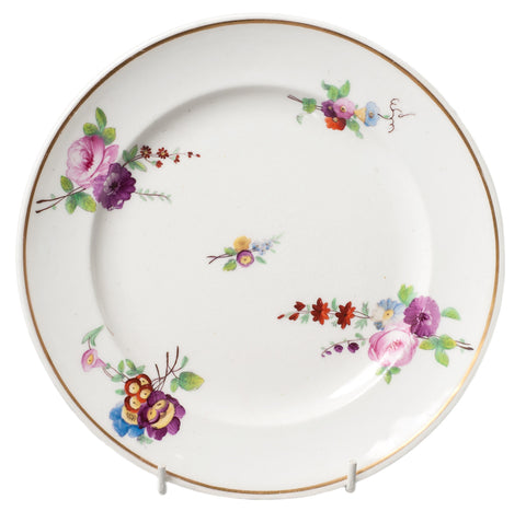 Antique Porcelain Plate with Specimen Floral Sprays and Gilt Rim c1820 (Code 0292) - Blue Cherry Antiques - 1