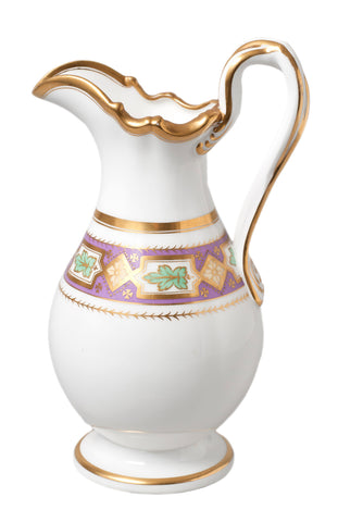 Antique Davenport Porcelain Slip Moulded Jug with Twist Handle Pattern 3417 (Code 0301) - Blue Cherry Antiques - 1