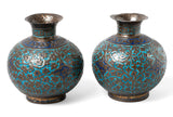 Pair of Antique Kashmir / Indo-Persian Vases with Enamel and Raised Patterns & Script Marks (Code 0317)