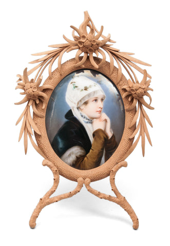 Fine Antique Swiss Hand Painted Portrait Miniature of Girl on Porcelain Plaque (Code 0432)