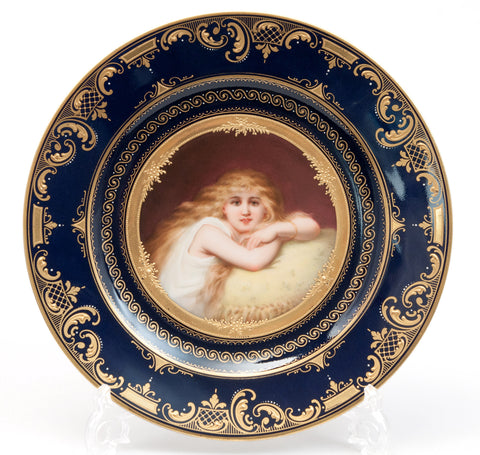 Antique Vienna Porcelain Hand Painted Portrait Plate - The Dreamer - H Stadler (Code 0434)