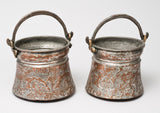 Pair of Antique Middle Eastern Hanging Copper Pails / Water Pots - Impressed Designs (Code 0475)