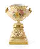 Antique Royal Worcester China Blush Ivory Pedestal & Pierced Reticulated Vase (Code 0519)