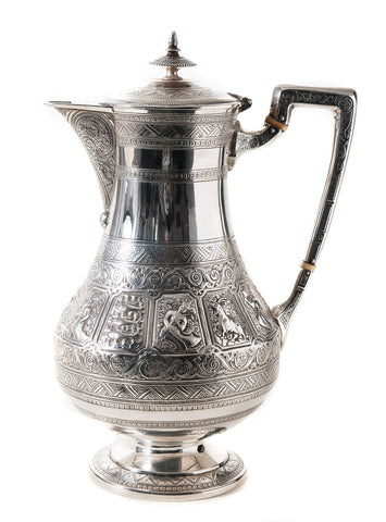 Antique Scottish Silver Zodiac Coffee Pot - Hamilton & Inches Edinburgh 1876 (Code 0529)