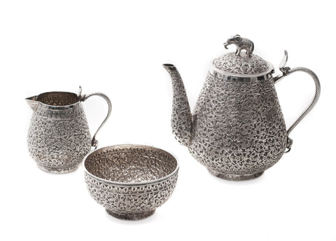 Fine Antique Indian Silver Tea Set with Floral Design & Cobra Handles c1850 (Code 0567)