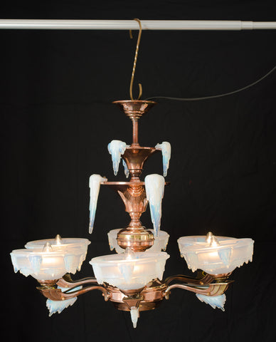 Art Deco French Electric Chandelier with Ezan Opalescent Glass Shades (Code 0627)