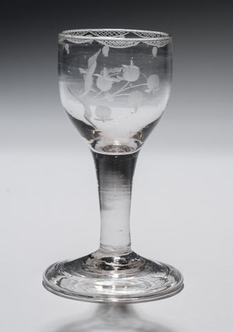 Antique Georgian Plain Stem Wine Glass with Floral Sprig Etching c1770 (Code 0642)