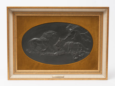 Wedgwood Black Basalt Ltd Edition Plaque The Frightened Horse by George Stubbs (Code 0658)