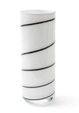 Carlo Nason Contemporary Murano Art Glass Vase in White with Black Spiral (Code 0732)