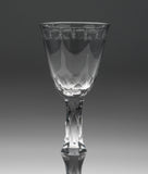 Georgian Antique English Lead Glass Facet Stem Knopped OXO Band Wine Glass (Code 0822)