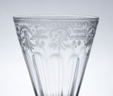 Antique Bohemian Soda Glass Wine Goblet with Etched Bowl and Folded Foot (Code 0833)