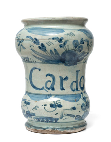 Antique Savona Italian Maiolica Pottery Albarello Drug Jar for Cardo Santo c1720 (Code 0836)
