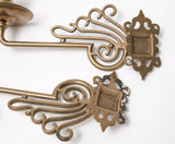 Pair Antique Scrolling Solid Brass Wall Sconce / Piano Girondelle Candlesticks  (Code 0864)