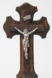 Antique Scumble Painted Wooden Altar Crucifix Cross with Cast Metal Christ (Code 0867)