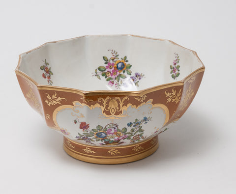 Antique Rockingham Marked Edme Samson Paris Porcelain Hand Painted Bowl c1835 (Code 0874)