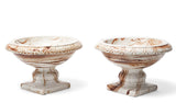 Pair Antique Neo Classical  Marble Glaze Pottery Comports - Early 19th Century (Code 0875)