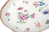 Antique Chinese Porcelain Famille Rose Hand Painted Shaped Dish Qianlong/Jiaqing (Code 0896)