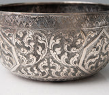 Antique Siamese (Thai) Silver Repousse Offering Bowl with Chinese Hall Marks (Code 0918)