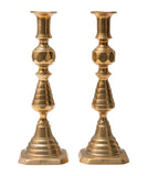 Pair Antique Victorian Double Beehive Brass Candlesticks with Registered Design (Code 0926)