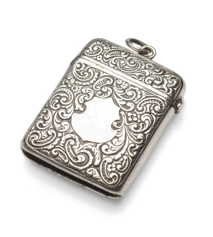 Antique Anglo-Indian Silver Plated Vesta Case with Cartouche and Mughal Mark (Code 0986)