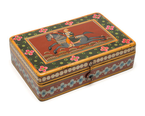 Interesting Antique Middle Eastern Hand Painted Horse & Figure Art/Writing/Cosmetic Box (Code 1009)