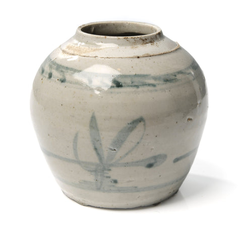 Antique Chinese Late Ming Period Stoneware Storage Jar with Brush Stroke Design (Code 1051)