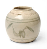 Antique Chinese Late Ming Period Stoneware Storage Jar with Grey/Green Design (Code 1052)