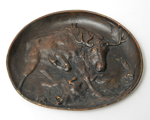 Antique Austrian Bronze Berndorf Vide Poche Dish - Moose Attacking Wolf c1890 (Code 1064)