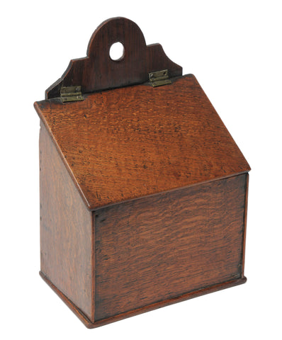 Georgian Antique English Provincial Oak Wood Salt Box with Hinged Lid (Code 1069)