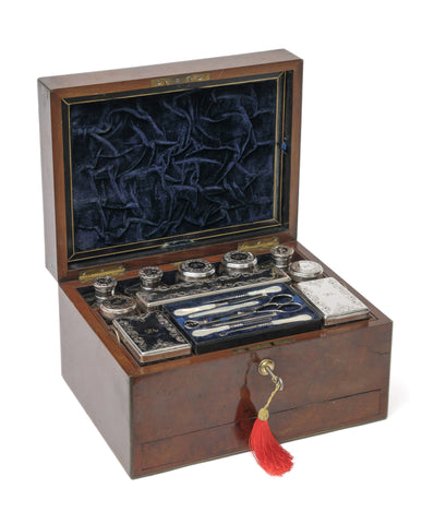 Antique Burr Walnut Dressing Case & Silver Plated Fittings, Samuel Fisher London (Code 1082)