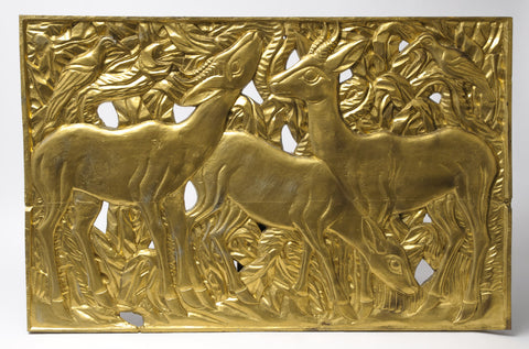 Art Deco Design Vintage Large Carved Hardwood Gold Painted Panel of Antelope (Code 1088)